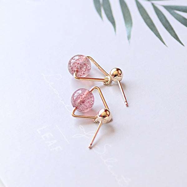 Strawberry Quartz Crystal Moonstone Bead Gold Stud Dangle Earrings Handmade Jewelry Accessories Women beautiful cute