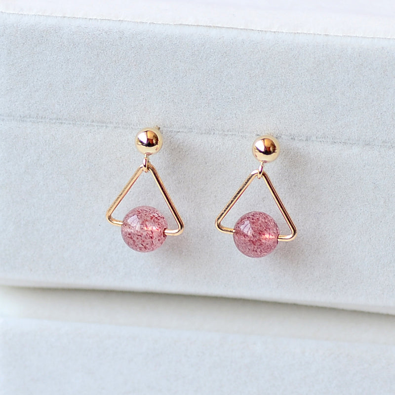 Strawberry Quartz Crystal Moonstone Bead Gold Stud Dangle Earrings Handmade Jewelry Accessories Women