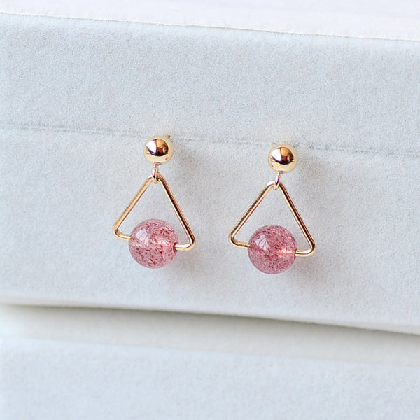 Strawberry Quartz Crystal Moonstone Bead 14K Gold Gild Stud Dangle Earrings Handmade Jewelry Accessories Women
