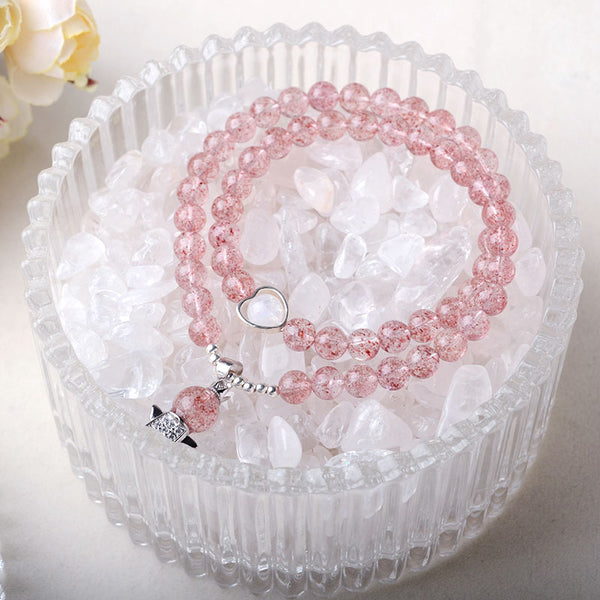 Strawberry Quartz Moonstone Bead Bracelets Handmade Jewelry Women Gifts