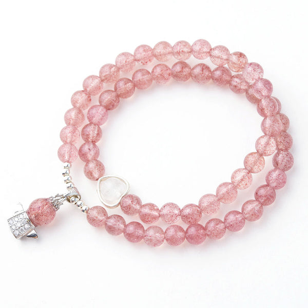 Strawberry Quartz Moonstone Bead Bracelets Handmade Jewelry Women adorable