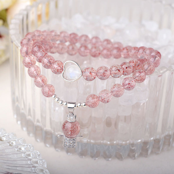 Strawberry Quartz Moonstone Bead Bracelets Handmade Jewelry Women cute