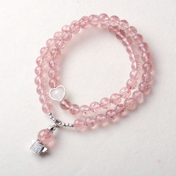 Strawberry Quartz Moonstone Bead Bracelets Handmade Jewelry Women