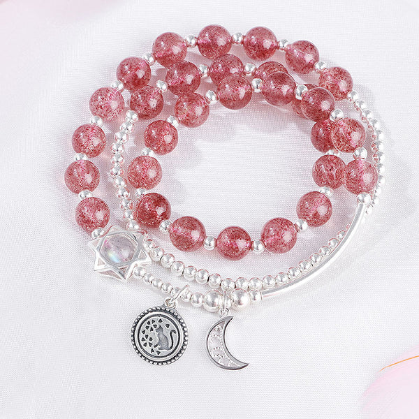 Strawberry Quartz Moonstone Sterling Silver Bead Bracelet Rosantica Handmade Jewelry Women gift