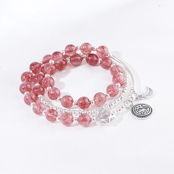 Strawberry Quartz Moonstone Sterling Silver Bead Bracelet Rosantica Handmade Jewelry Women girls