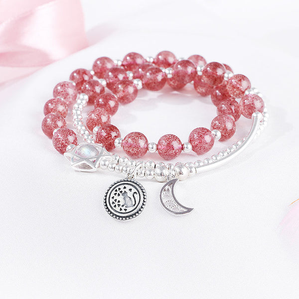 Strawberry Quartz Moonstone Sterling Silver Bead Bracelet Rosantica Handmade Jewelry Women