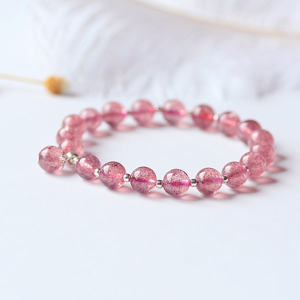 Strawberry Quartz Sterling Silver Bead Bracelet Handmade Jewelry Accessories Gifts for Women