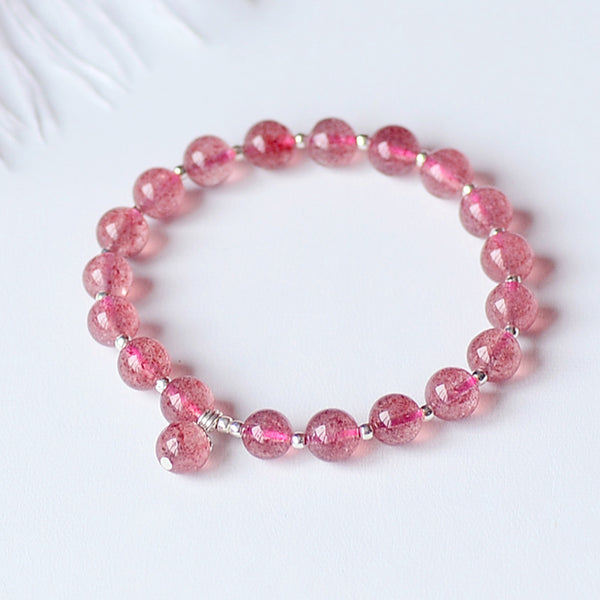 Strawberry Quartz Silver Bead Bracelet Handmade Jewelry Accessories Gifts Women beautiful