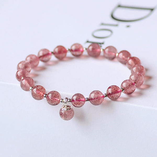 Strawberry Quartz Silver Bead Bracelet Handmade Jewelry Accessories Gifts Women chic