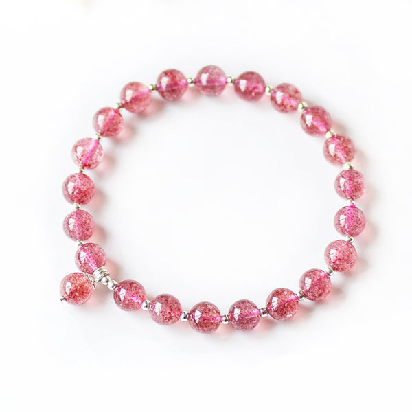 Strawberry Quartz Silver Bead Bracelet Handmade Jewelry Accessories Gifts Women