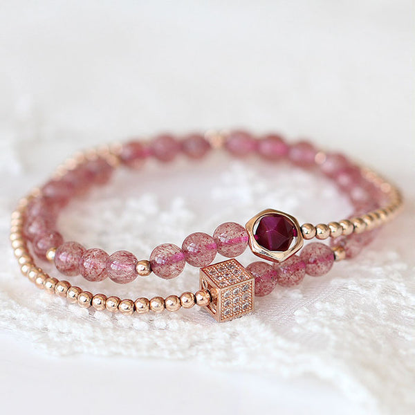 Strawberry Quartz Tigereye Rose Gold Plated Silver Bead Bracelet Handmade Jewelry Women