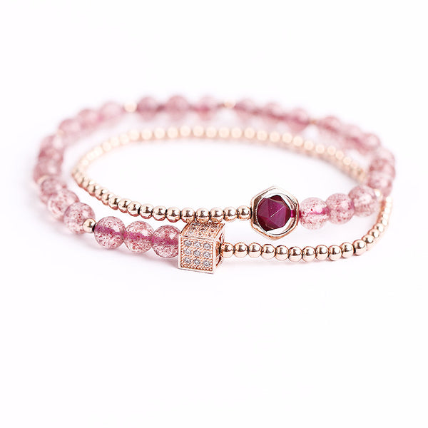 Strawberry Quartz Tigereye Gold Silver Bead Bracelet Handmade Jewelry Women gift