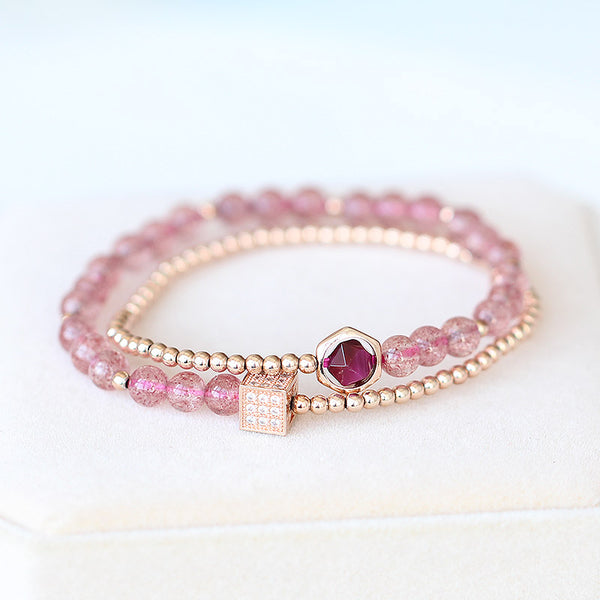 Strawberry Quartz Tigereye Gold Silver Bead Bracelet Handmade Jewelry Women pink