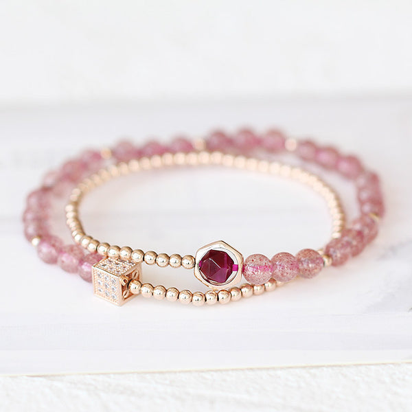 Strawberry Quartz Tigereye Gold Silver Bead Bracelet Handmade Jewelry Women