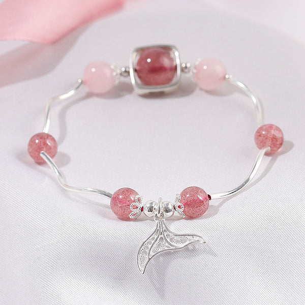 Strawberry Rose Quartz Crystal Silver Bead Bracelet Handmade Jewelry Women PINK