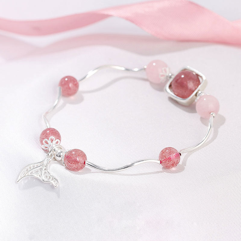 Strawberry Rose Quartz Crystal Silver Bead Bracelet Handmade Jewelry Women beautiful