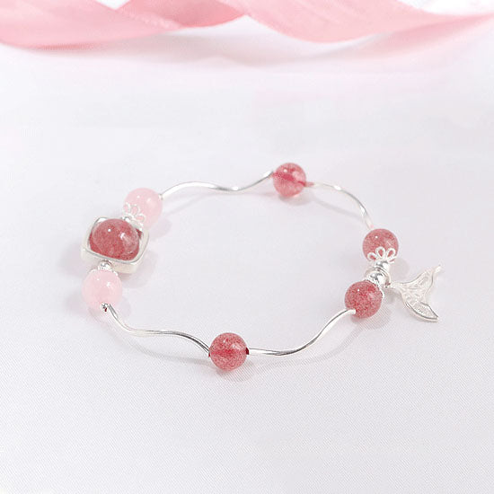 Strawberry Rose Quartz Crystal Silver Bead Bracelet Handmade Jewelry Women girls