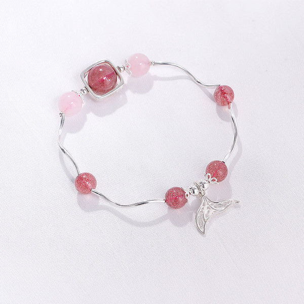 Strawberry Quartz Rose Quartz Crystal Silver Fish Tail Bead Bracelet Handmade Jewelry Women