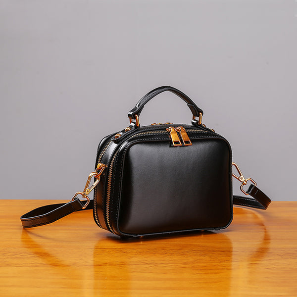 Stylish Cube Bag Womens Leather Crossbody Bags Shoulder Bag for Women black