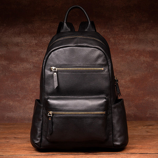 Stylish Ladies Black Genuine Leather Backpack Purse Rucksack For Women Accessories