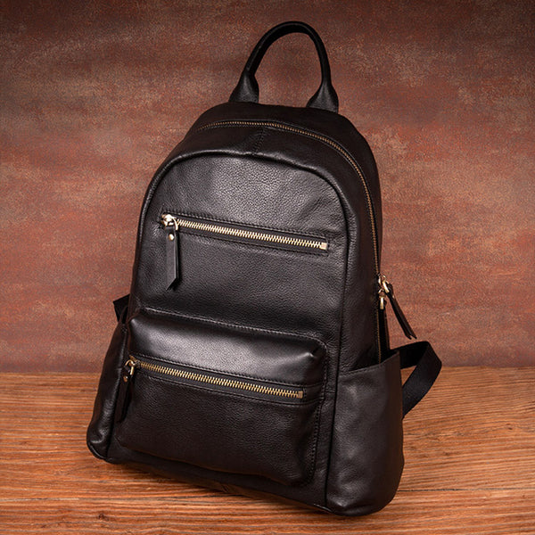 Stylish Ladies Black Genuine Leather Backpack Purse Rucksack For Women