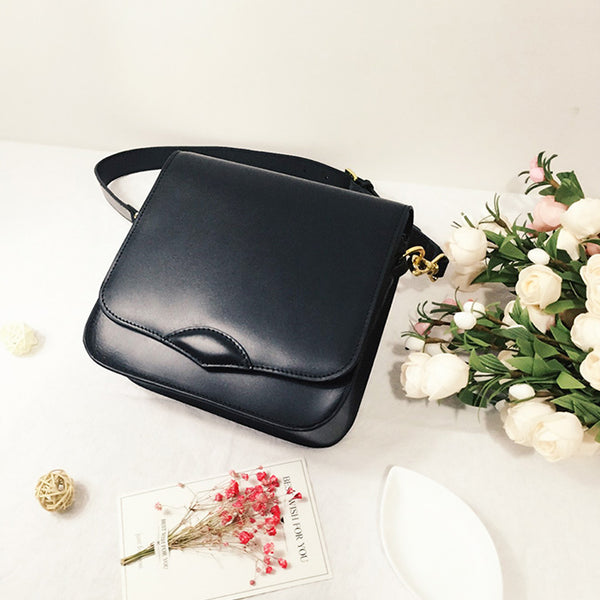 Stylish Ladies Black Leather Handbags Shoulder Bag Purses for Women Genuine Leather