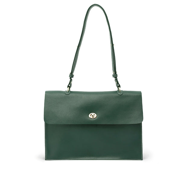 Stylish Ladies Leather Handbags Green Leather Shoulder Bag for Women Details