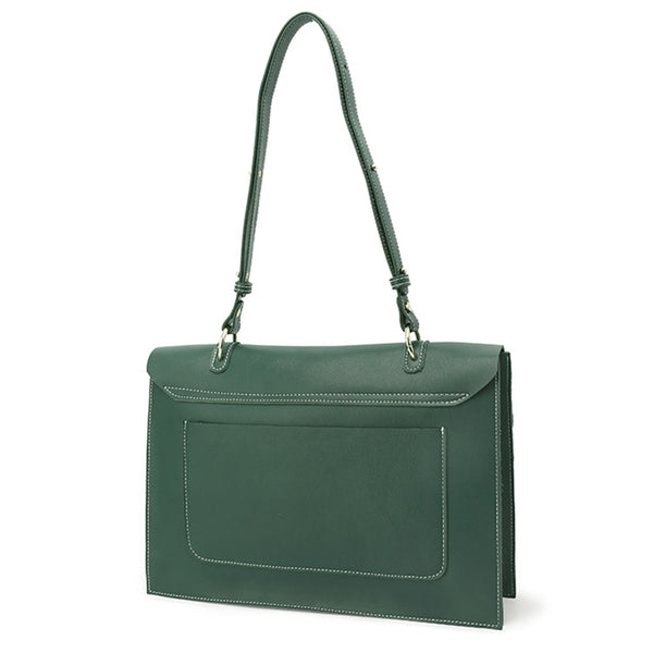 Stylish Ladies Leather Handbags Green Leather Shoulder Bag for Women Minimalism