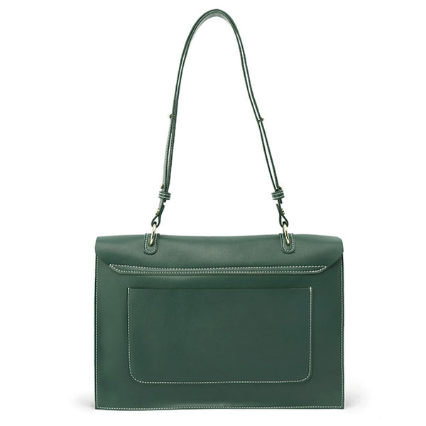 Stylish Ladies Leather Handbags Green Leather Shoulder Bag for Women satchel