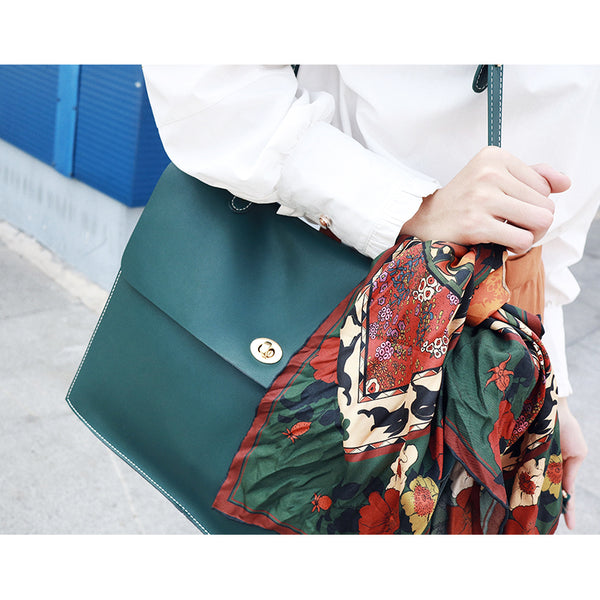 Stylish Ladies Leather Handbags Green Leather Shoulder Bag for Women