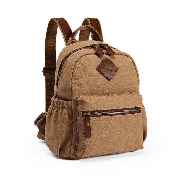 Stylish Women's Brown Canvas And Leather Backpack Purse Small Rucksack Bag With Zipper