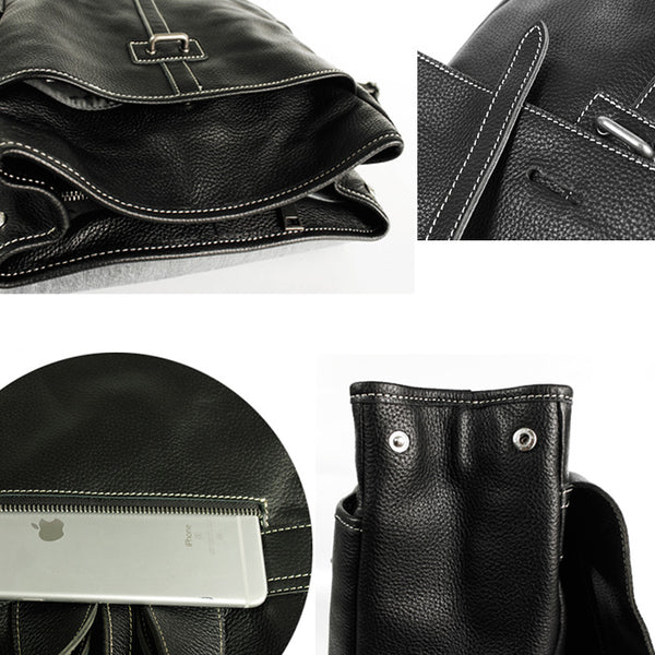 Stylish Womens Black Leather Backpack Bag Laptop Book Bag Purse for Women Genuine Leather