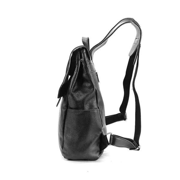 Stylish Womens Black Leather Backpack Bag Laptop Book Bag Purse for Women cowhide