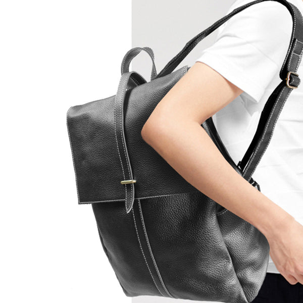 Stylish Womens Black Leather Backpack Bag Laptop Book Bag Purse for Women fashion