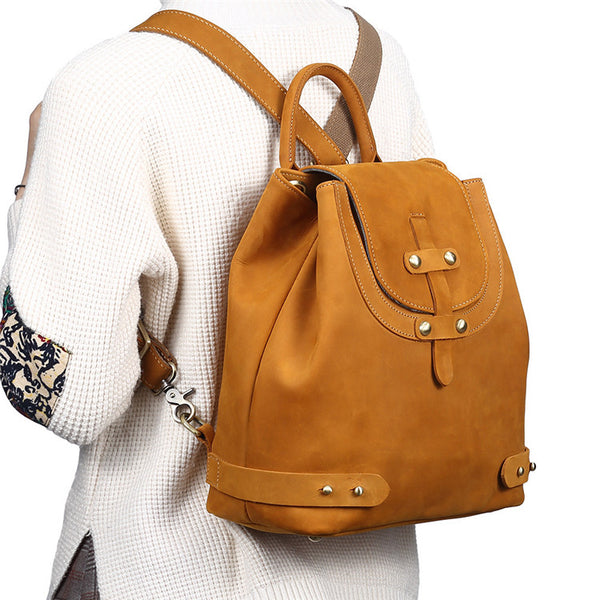 Stylish Womens Brown Leather Backpack Purse Cross Shoulder Bags for Women Affordable