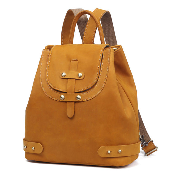 Stylish Womens Brown Leather Backpack Purse Cross Shoulder Bags for Women Genuine Leather
