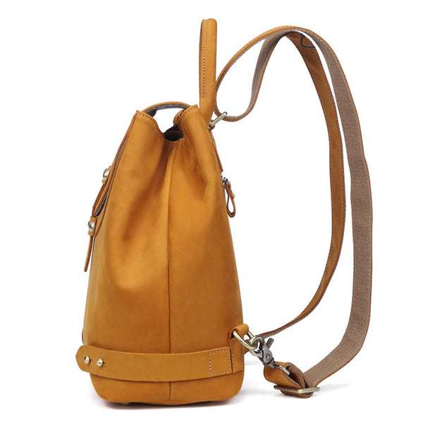 Stylish Womens Brown Leather Backpack Purse Cross Shoulder Bags for Women Handmade