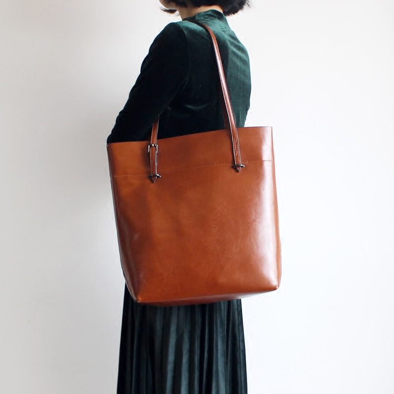 Stylish Womens Brown Leather Tote Bag Handbags Shoulder Bag for Women