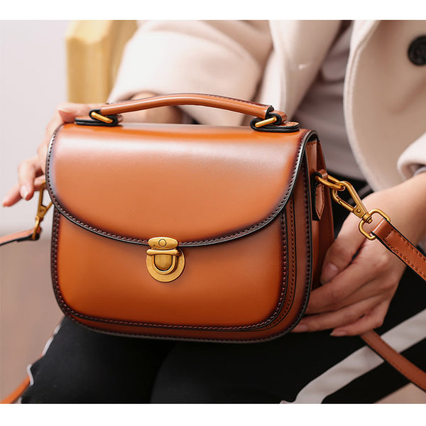 Stylish Womens Genuine Leather Satchel Bag Crossbody Bags for Women Accessories