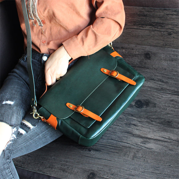 Stylish Womens Green Leather Satchel Bag Crossbody Bags Handbags Designer