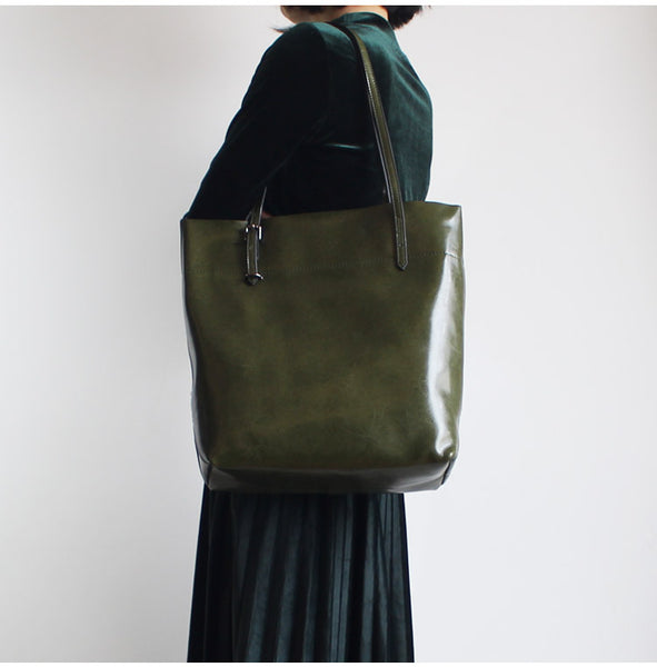 Stylish Womens green Leather Tote Bag Handbags Shoulder Bag for Women gift