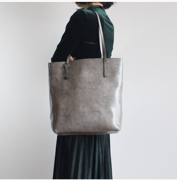 Stylish Womens grey Leather Tote Bag Handbags Shoulder Bag for Women Minimalist
