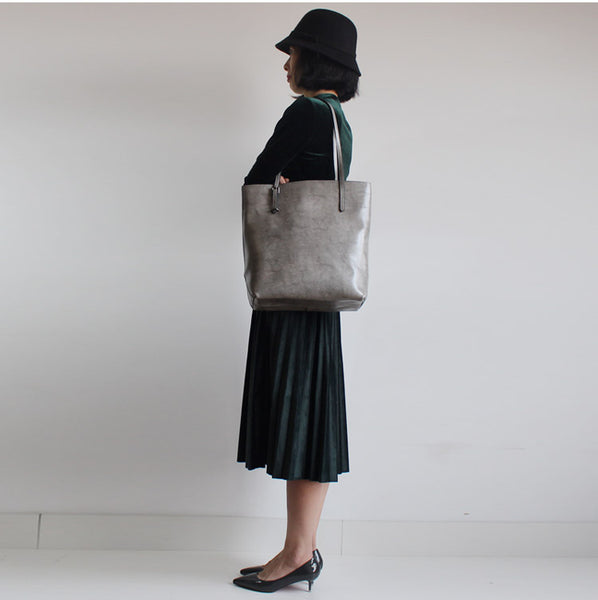 Stylish Womens grey Leather Tote Bag Handbags Shoulder Bag for Women Vintage