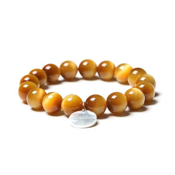 Gold Tigereye Cat's eye Bead and Silver Bracelet Handmade Gemstone Jewelry Accessories Women Men