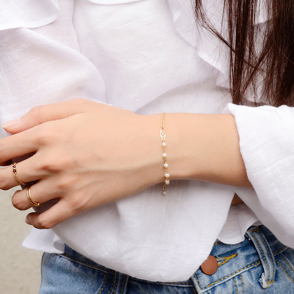 Tiny Freshwater Pearl Bead Bracelet in 14K Gold Handmade Jewelry Accessories Women