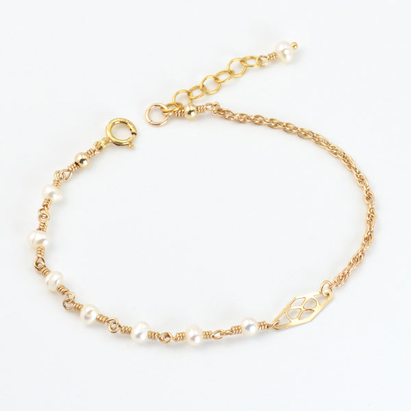 Tiny Freshwater Pearl Bead Bracelet Gold Handmade Jewelry Accessories Women gift