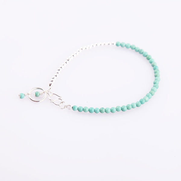 Tiny Turquoise Beads Bracelets December Birthstone Womens Gemstone Jewelry Accessories Gift chic