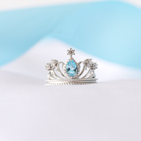 Topaz Crown Ring Gold Silver Engage proposal Ring November Birthstone Women blue