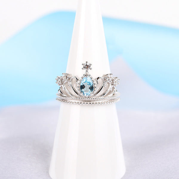 Topaz Crown Ring Gold Silver Engage proposal Ring November Birthstone Women FRONT