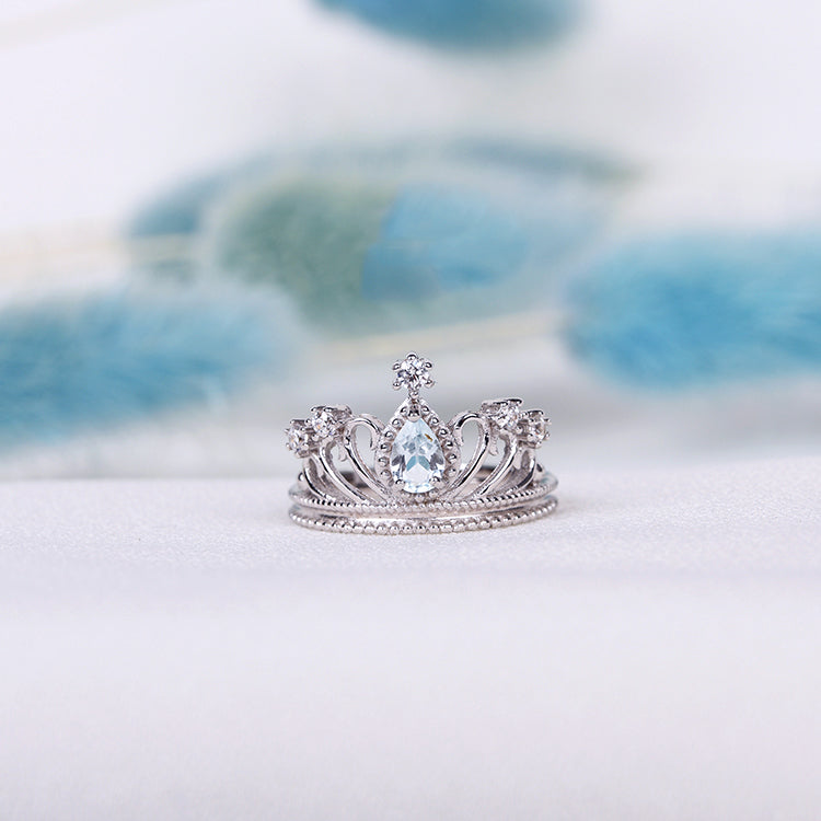 Topaz Crown Ring Gold Silver Engage proposal Ring November Birthstone Women light blue